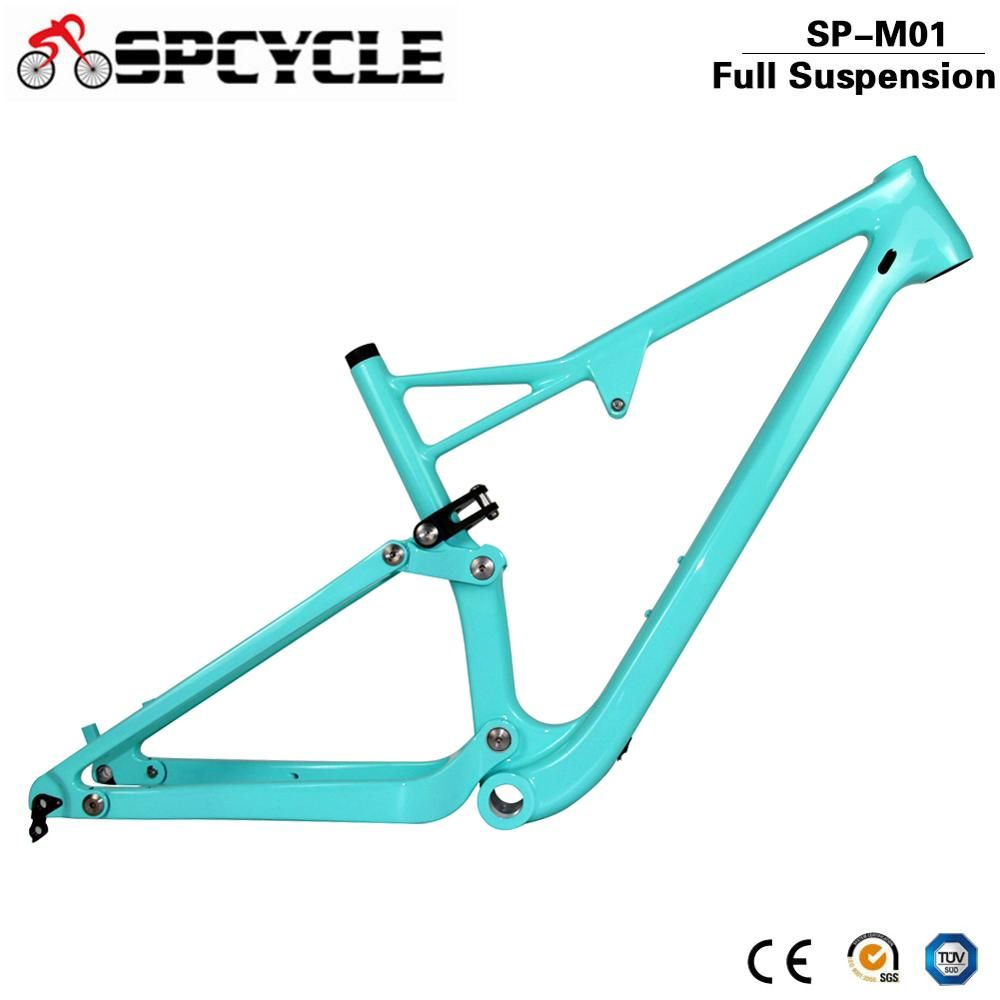 Spcycle 29er Full Suspension Carbon Rahmen, carbon MTB Rahmen 29er Mountainbike Carbon Rahmen 142*12mm Steckachse 165*38mm Reise