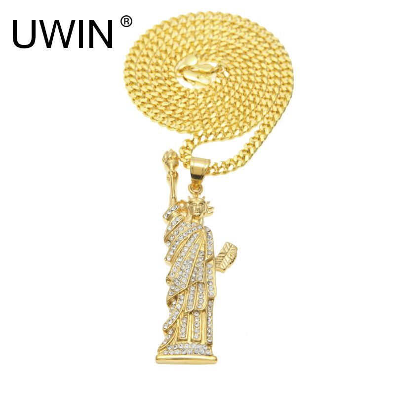 UWIN Men Women Gold Stainless Steel Statue of Liberty Pendant Charm Iced Out Rhinestone Crystal Hip hop Necklace Punk Jewelry