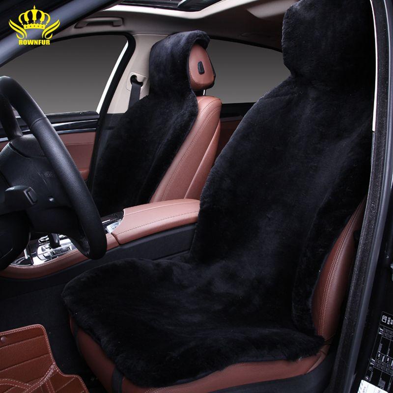free shipping favours winter high quality <font><b>whole</b></font> piece of long 100% genuine wool fur sheepskin black car seat covers CLASS- 2