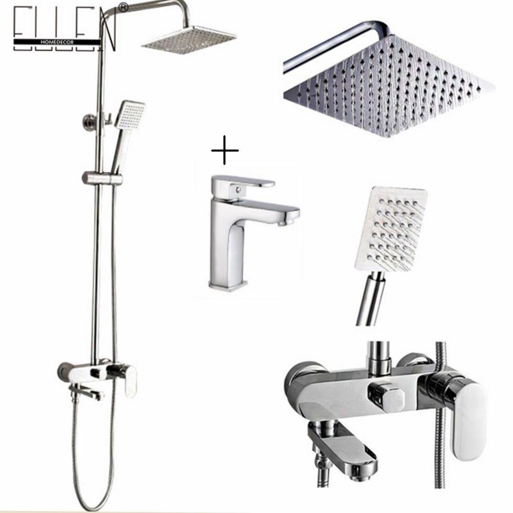 Bathroom Shower Set 8-10-12 inch Rain Shower Head Bath Shower Mixer with Hand Shower