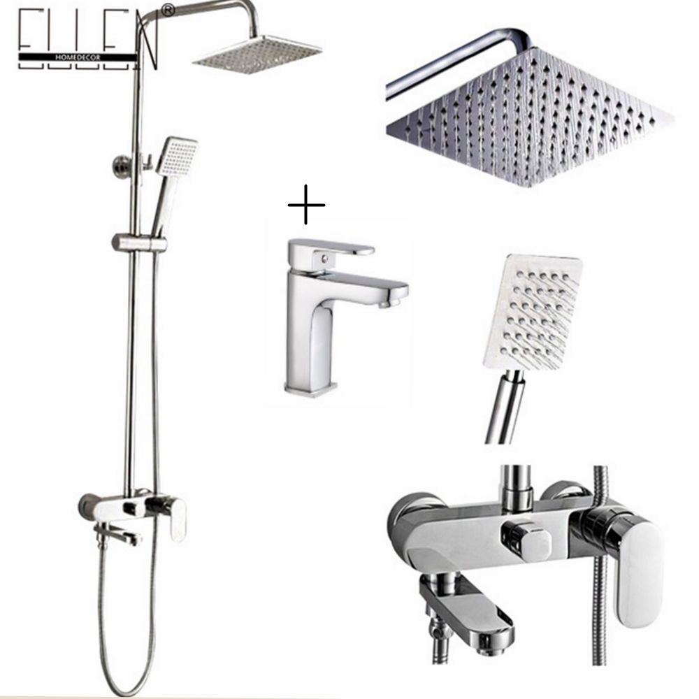Bathroom Shower Set 8-10-12 inch Rain Shower <font><b>Head</b></font> Bath Shower Mixer with Hand Shower