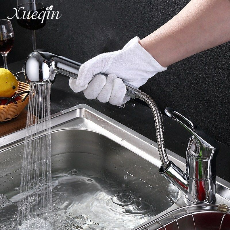 Xueqin G1/2 Pull Out Spray Kitchen Sink Basin Water Faucet Taps Bathroom Chrome Finished Mixer Tap Faucet Deck Mounted
