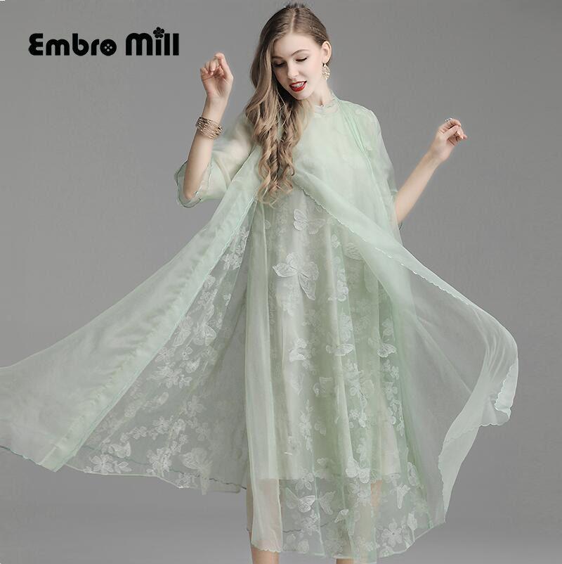 Sommer folk-benutzerdefinierte Blütenblatt hülse silk stickerei Floral kleid Retro Sieben-viertel sleeve Pendeln frauen elegante kleid M-XL