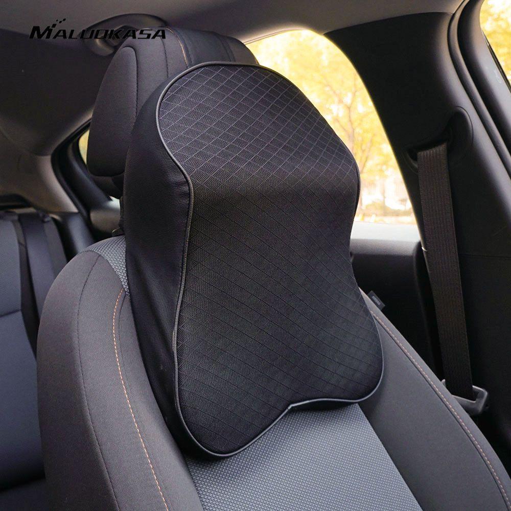 MALUOKASA 3D Memory Foam Car Neck Pillow Adjustable Head Restraint Auto Headrest Travel Pillow Neck Support Holder Seat Covers