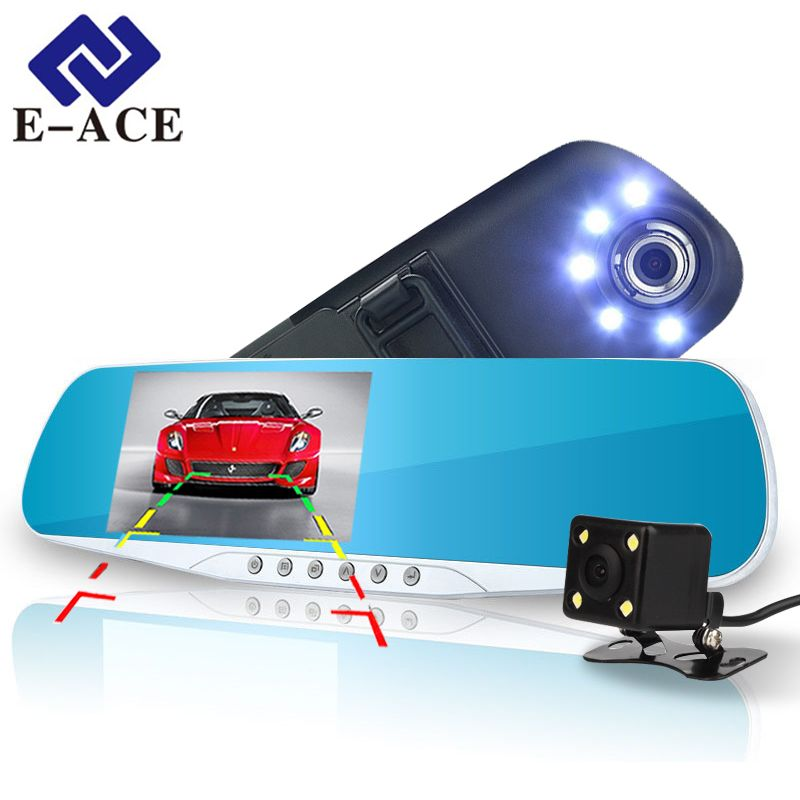 E-ACE Automotive Car Camera Dvr Night Vision 5 Led Lights Dash Cam Rear View Mirror Dvr Two Camera Registrator Camcorde Car Cams