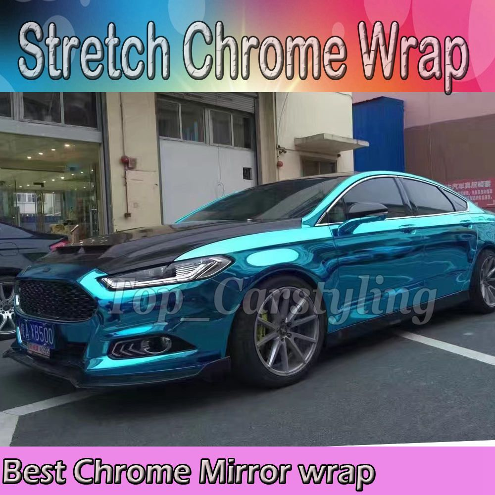 Licht Blau Dehnbar Chrom Spiegel Vinyl Wrap PROTWRAPS Film für Auto Styling folie mit luftblase Frei Größe: 1,52*20 M/Roll