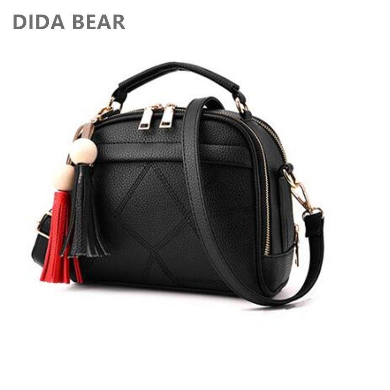 DIDA BEAR Women Small Leather Shoulder bags Girls Crossbody <font><b>Messenger</b></font> bag Lady Handbag and Purse Femme Sac A Epaule bolso Black
