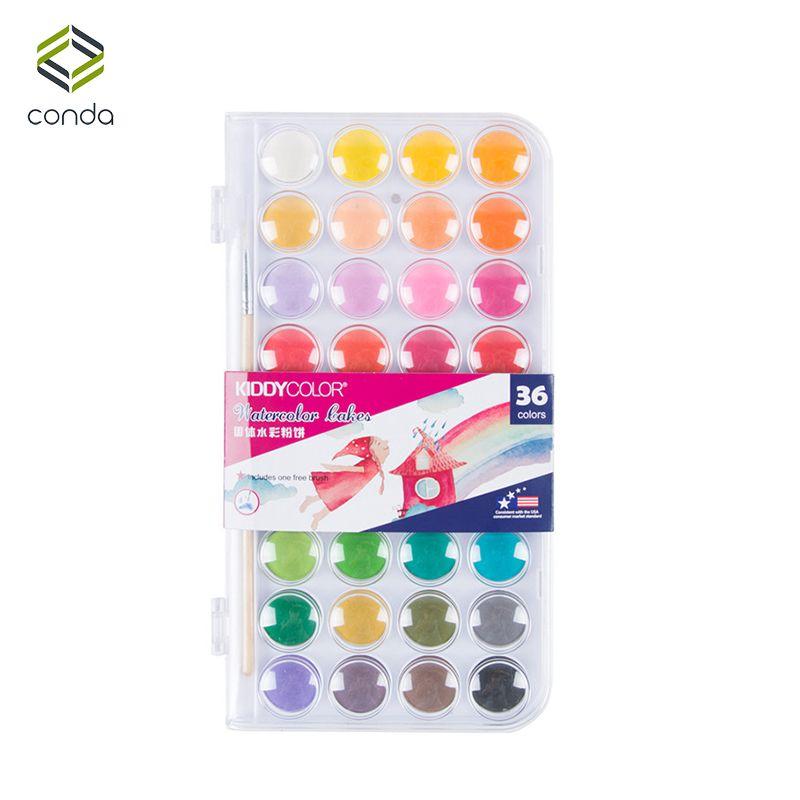 Conda 36 couleurs professionnel solide aquarelle peintures extérieur fondamentaux peinture Pigment Portable croquis couleur Art papeterie