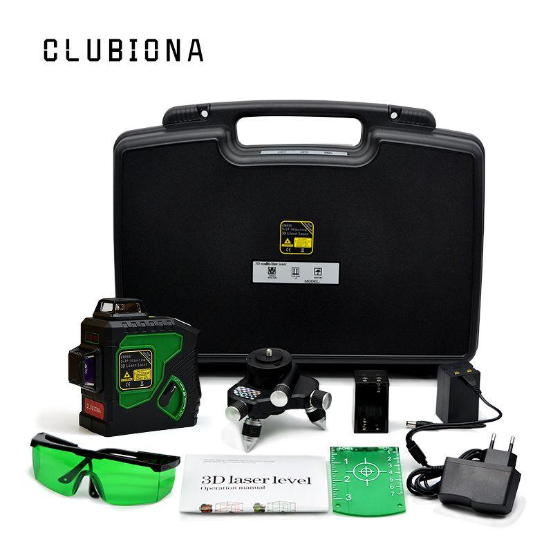 Clubiona 3D 12GH 12 Lignes Niveau Laser avec Auto-Nivellement 360 Horizontal Et Vertical Croix Super Puissant VERT Laser faisceau Lignes