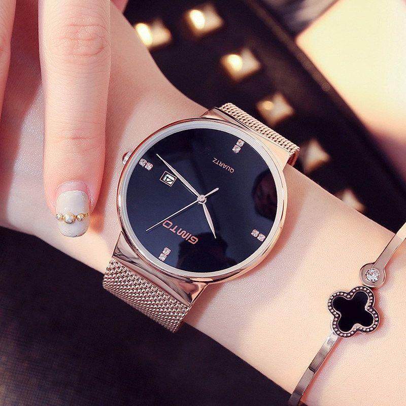 Модные женские часы-браслет Для женщин Элегантный тонкий браслет золото сетки Группа наручные кварцевые часы Montre Femme Relogio feminino 46