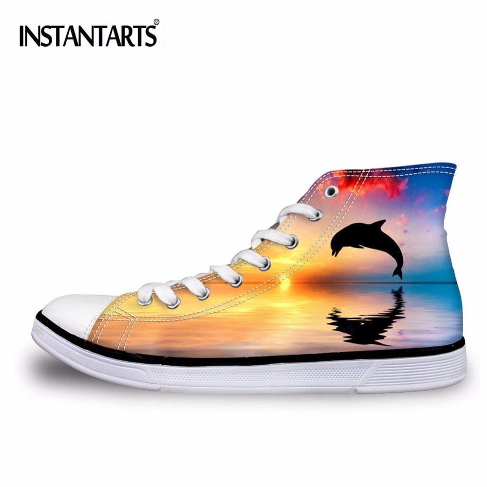 INSTANTARTS 3D Animal Dolphin Vulcanize Shoes for Men Brand Male Superstar High Top Canvas Shoes Student Flat Lace Up Sneakers
