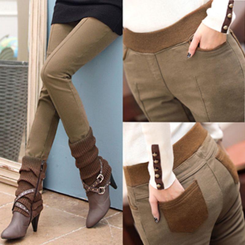 Plus la Taille S-4XL Femmes Crayon Pantalon taille haute Skinny Noir Épais Velours Chaud D'hiver Leggings Jeggings Legins Feminina Pantalon