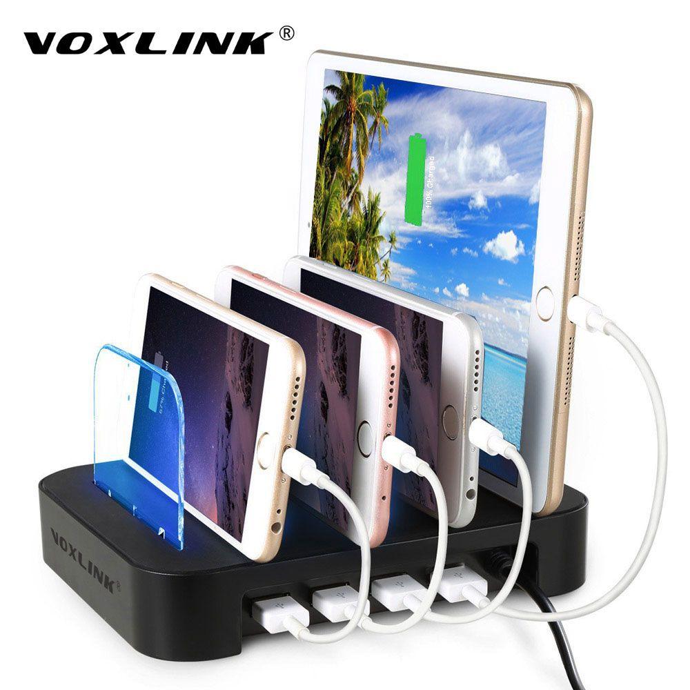 VOXLINK Universel Multi-Port USB Station De Recharge 4-Port USB Charge Dock De Bureau De Charge Stand Adapte Tous Les Téléphones Intelligents Comprimés