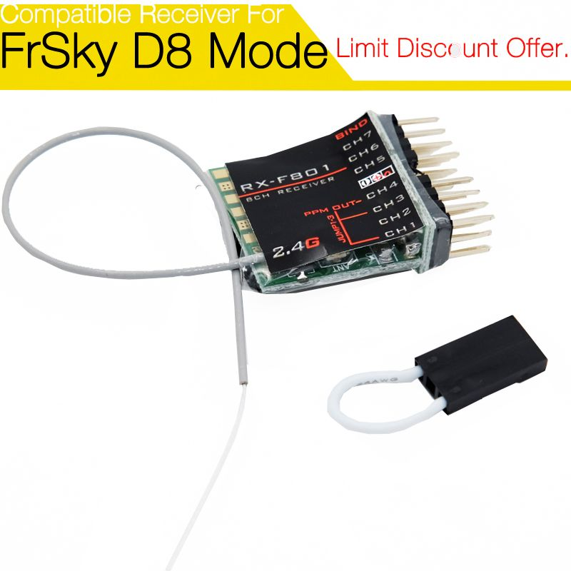 F801 8 channel Non-Telemetry Receiver for FrSky Taranis X9D/ X9D P/ QX7, XJT, DFT, DJT, DHT modules