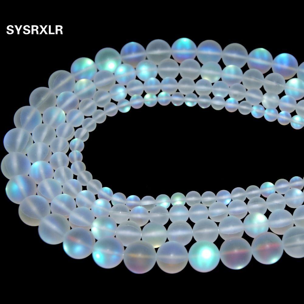 Natural cristal Austria síntesis piedra de la luna del brillo Cuentas para joyería hacer DIY pulsera collar 6/8/10/ 12mm Strand 15''