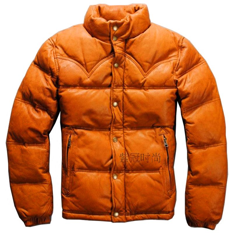 goat skin zipper warm down leather jacket mans genuine leather down jacket