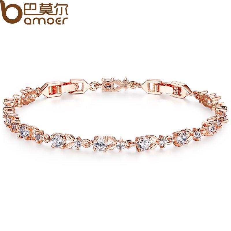 Bamoer 6 colores lujo Rosa oro color cadena pulsera para las mujeres damas brillantes AAA cúbicos ZIRCON joyas de cristal JIB013