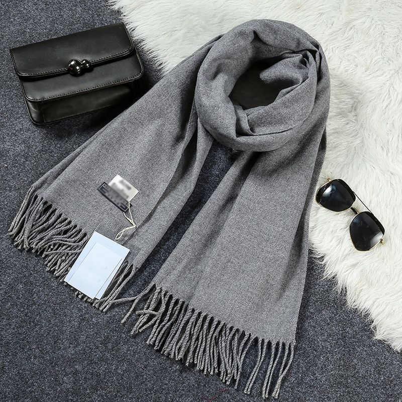 New Luxury Scarf Winter Women Scarf Men Wool Cashmere Solid Scarf High Quality Pashmina Tassels Wraps Scarves 180*70cm WJ8049