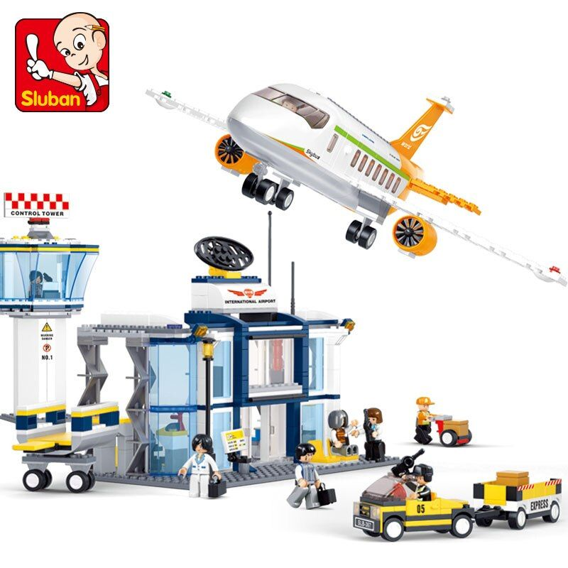 Sluban 678Pcs LegoINGs City Aviation Series International Airport Building Blocks Sets Figures Educational Toys for Children