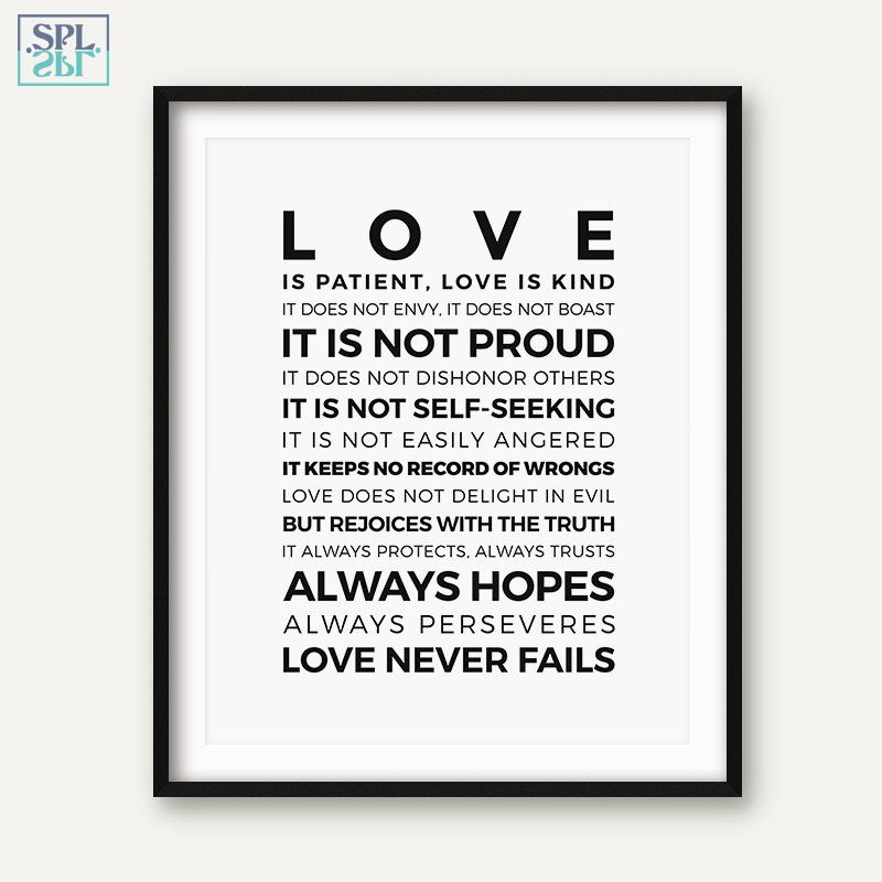 SPLSPL Bible Verse Quotes Posters and Prints Love Is Patient,Love Is Kind!Cuadros Decoracion Canvas Wall Art Pictur Oil Painting