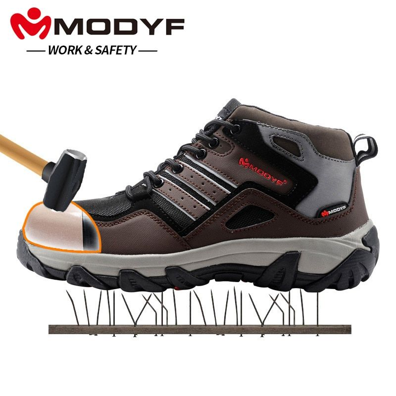 MODYF Hommes Embout D'acier Chaussures de Sécurité Au Travail Casual Réfléchissant Extérieure Bottes Ponction Preuve Chaussures Sneaker Hiver Chaud De Fourrure
