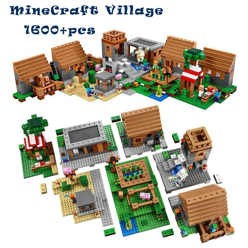 1600+pcs Model building toys hobbies compatible with lego my worlds MineCraft Village blocks bricks Educational for children