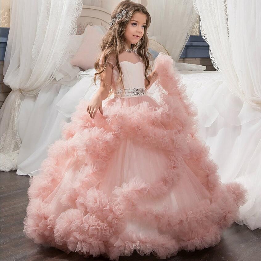 Bola Niñas Vestidos para la boda madre hija vestido niño vestido niña vestido tobillo-longitud Niñas Rosa princesa vestido