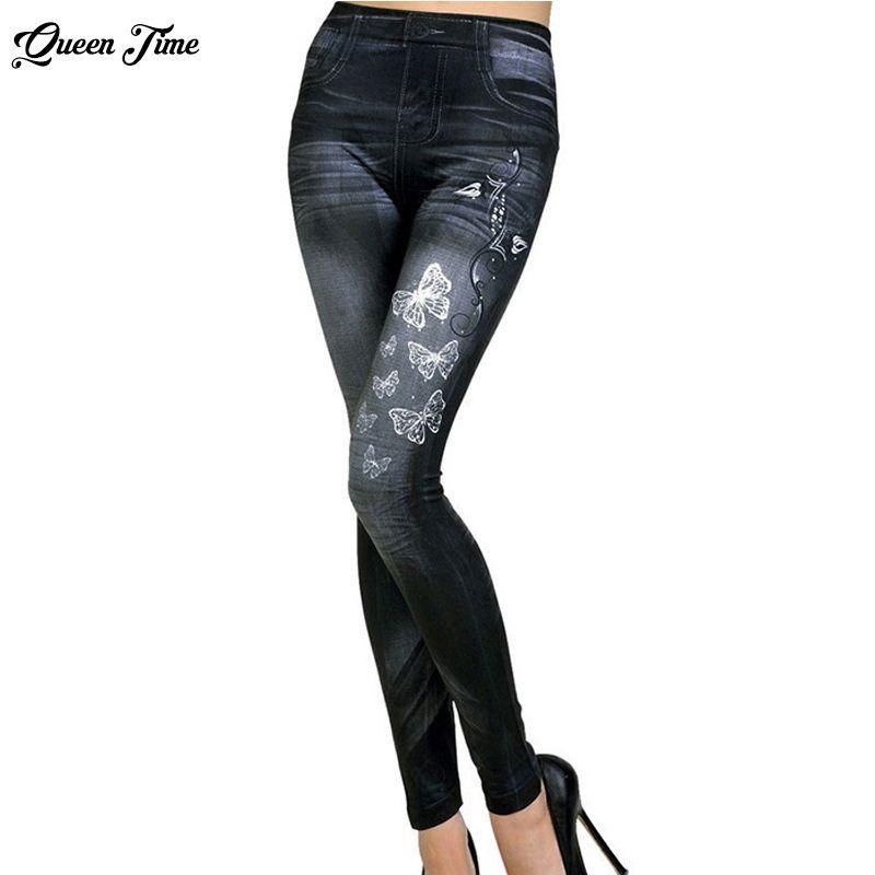 2017 Women New Fashion Classic Stretchy Slim Leggings Sexy imitation Jean Skinny Jeggings Skinny Pants big size bottoms hot sale