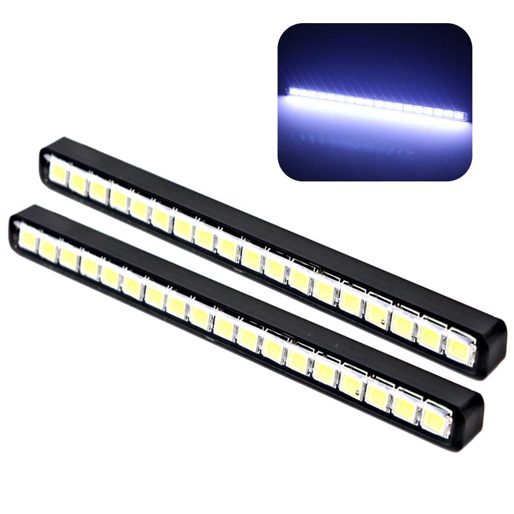 2pcs Waterproof 18 LEDs Car DRL Daytime Running Lights Auto Daylight Car Daytime LED Light Lamps Car Styling