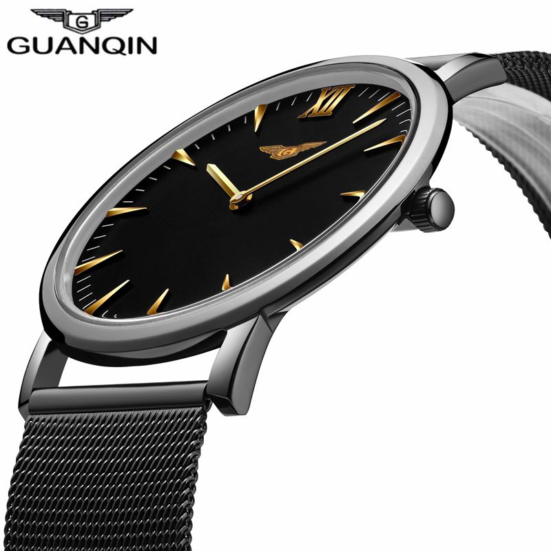 GUANQIN New Fashion Men's Ultra Thin Quartz Watches Men Luxury Brand Business Clock Stainless Steel Mesh Band Waterproof Watch