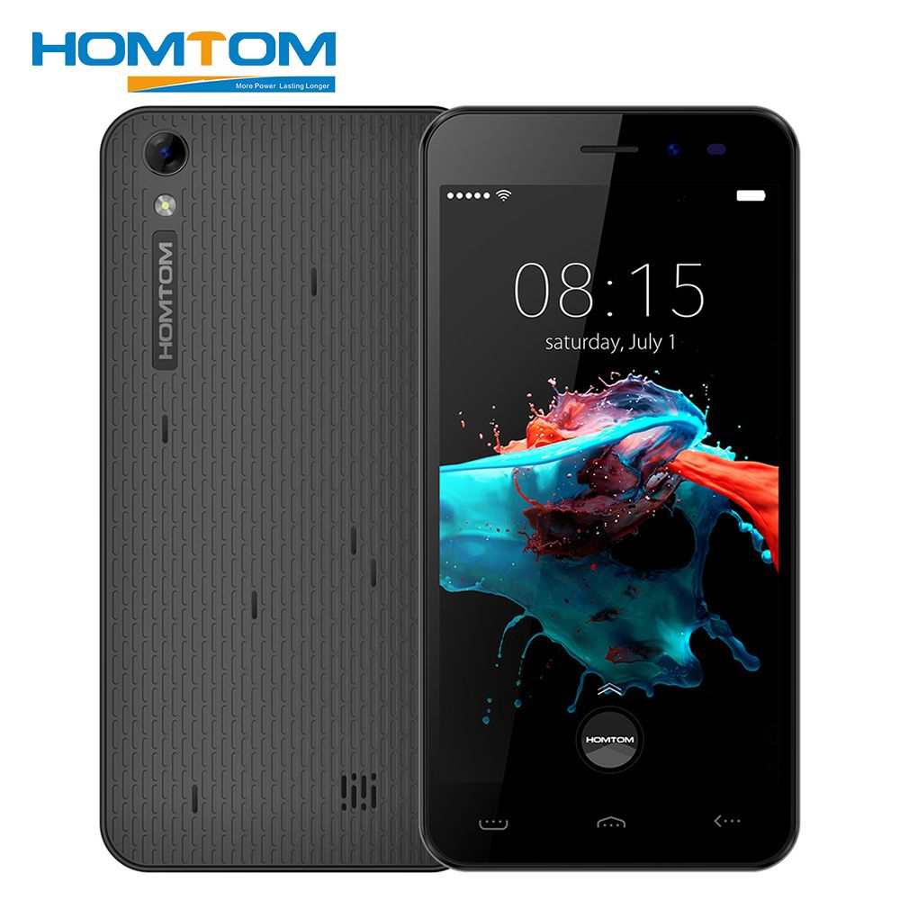 Homtom <font><b>HT16</b></font> Smartphone 5.0 Inch 1GB RAM 8GB ROM Android 6.0 Quad Core 1280x720 MT6580 3000mAh 8.0MP Dual Sim Unlock Mobile Phone