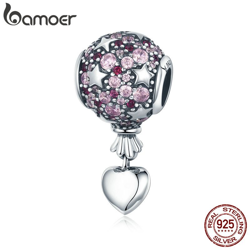 BAMOER Authentic 925 Sterling Silver Romantic Love Balloon Hot Air Pendant Charm fit Charm Bracelet Necklace Jewelry Gift SCC517