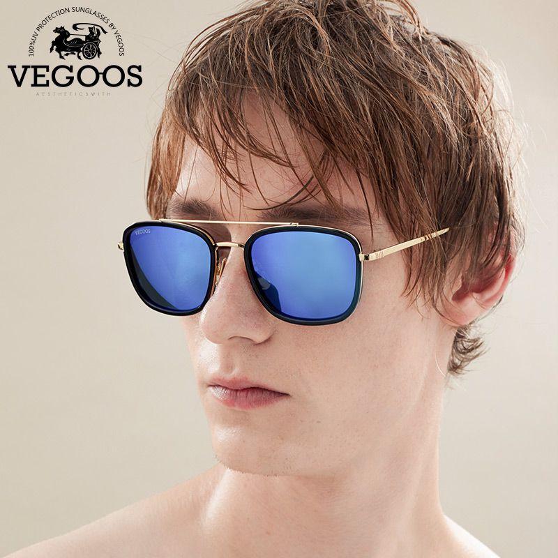 VEGOOS Marque Designer Hommes et Femmes lunettes de Soleil Carré Style Miroir Lentilles de Lunettes Pour Hommes Unisexe Lunettes de Soleil #3112