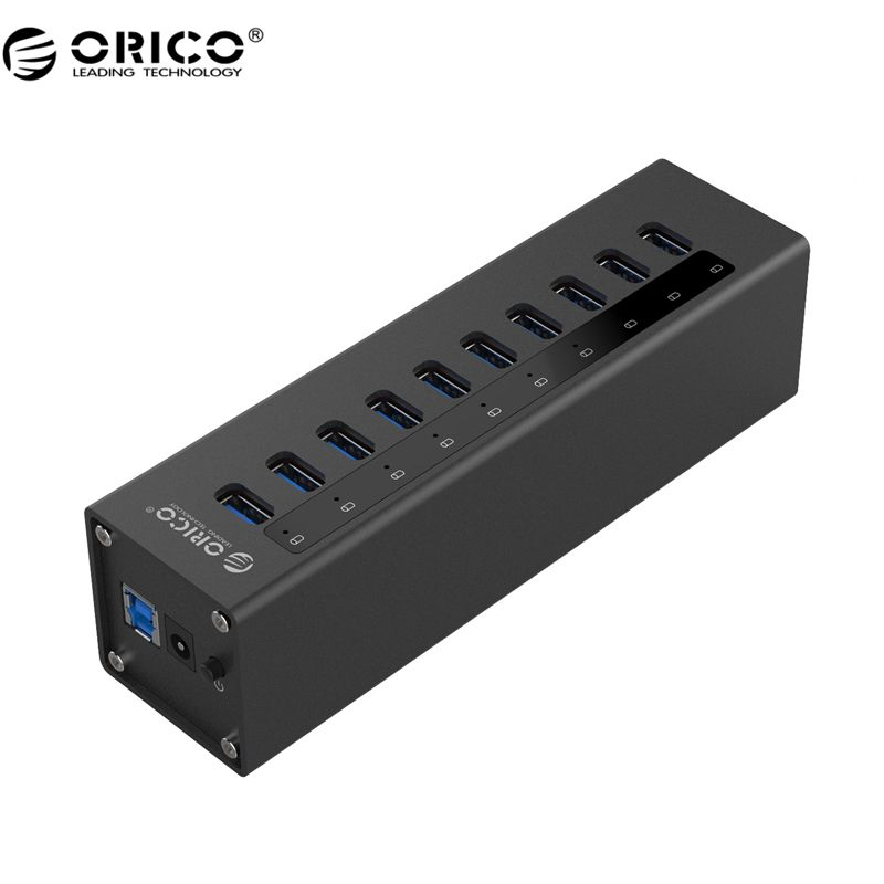 ORICO A3H10 USB 3.0 HUB New design With Power Adapter Aluminum 10 Port USB 3.0 HUB - Black