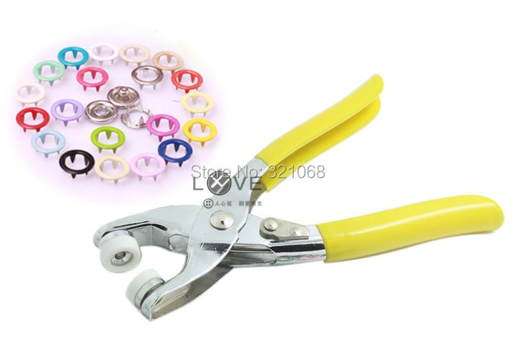 200 sets of 9.5 MM hollow color buckle metal snap button with five claws 20 color + installation tools pliers
