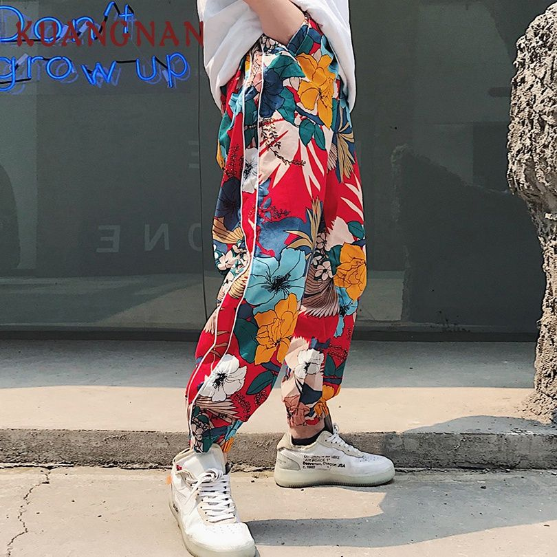 KUANGNAN Japanese Floral Harem Pants Men Jogger Sweatpants Hip Hop Pants Men Trousers Streetwear Joggers Men Pants Casual 2018