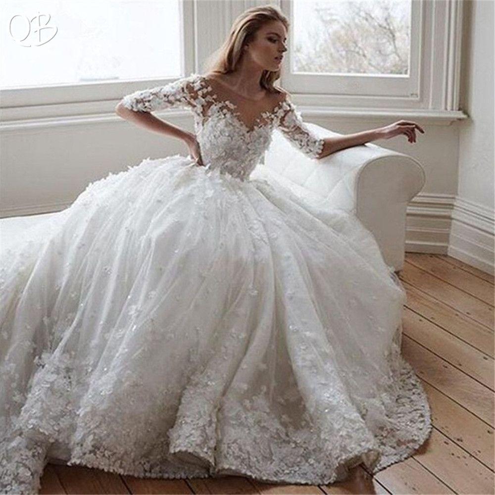 Nach Maß Prinzessin Halbe Hülse Tüll Spitze 3D Blumen Perlen Appliques Luxus Vintage Hochzeit Kleider 2019 Brautkleider XL05