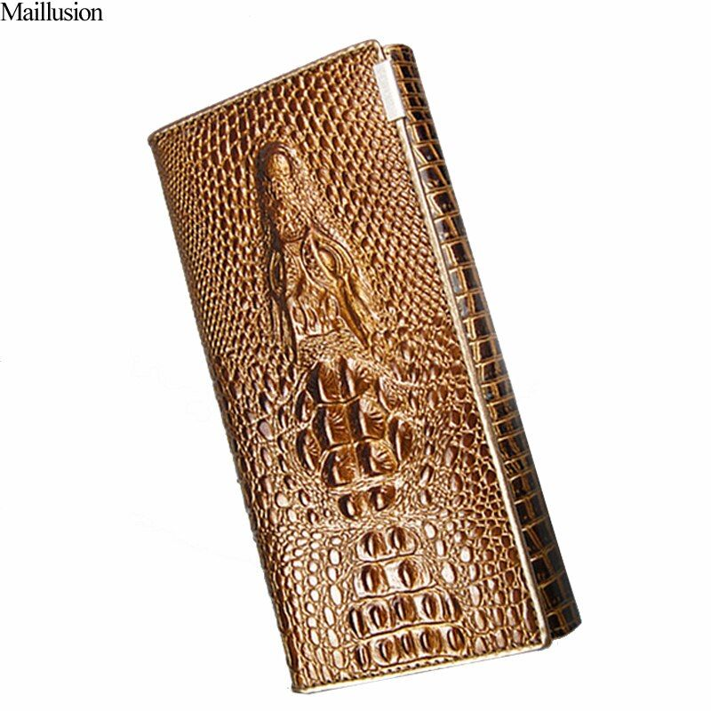Women Wallet Female 2018 Coin Purses Card Holders Brand Genuine Leather 3D Embossing Alligator Ladies Crocodile Long <font><b>Clutch</b></font> Bags
