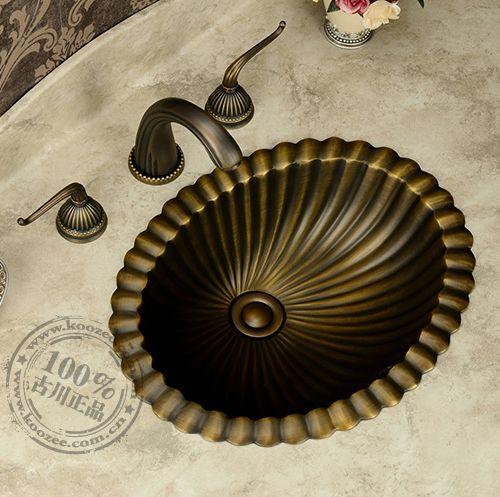 Classic bronze basin bathroom wash basin counter basin fashion vintage rustic copper basin