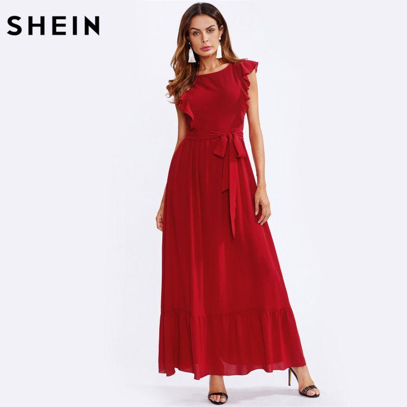 SHEIN Frill Shoulder and Hem Self Belted A Line Dress Red Women Long Dress Cap Sleeve Round Neck Elegant Maxi Dress