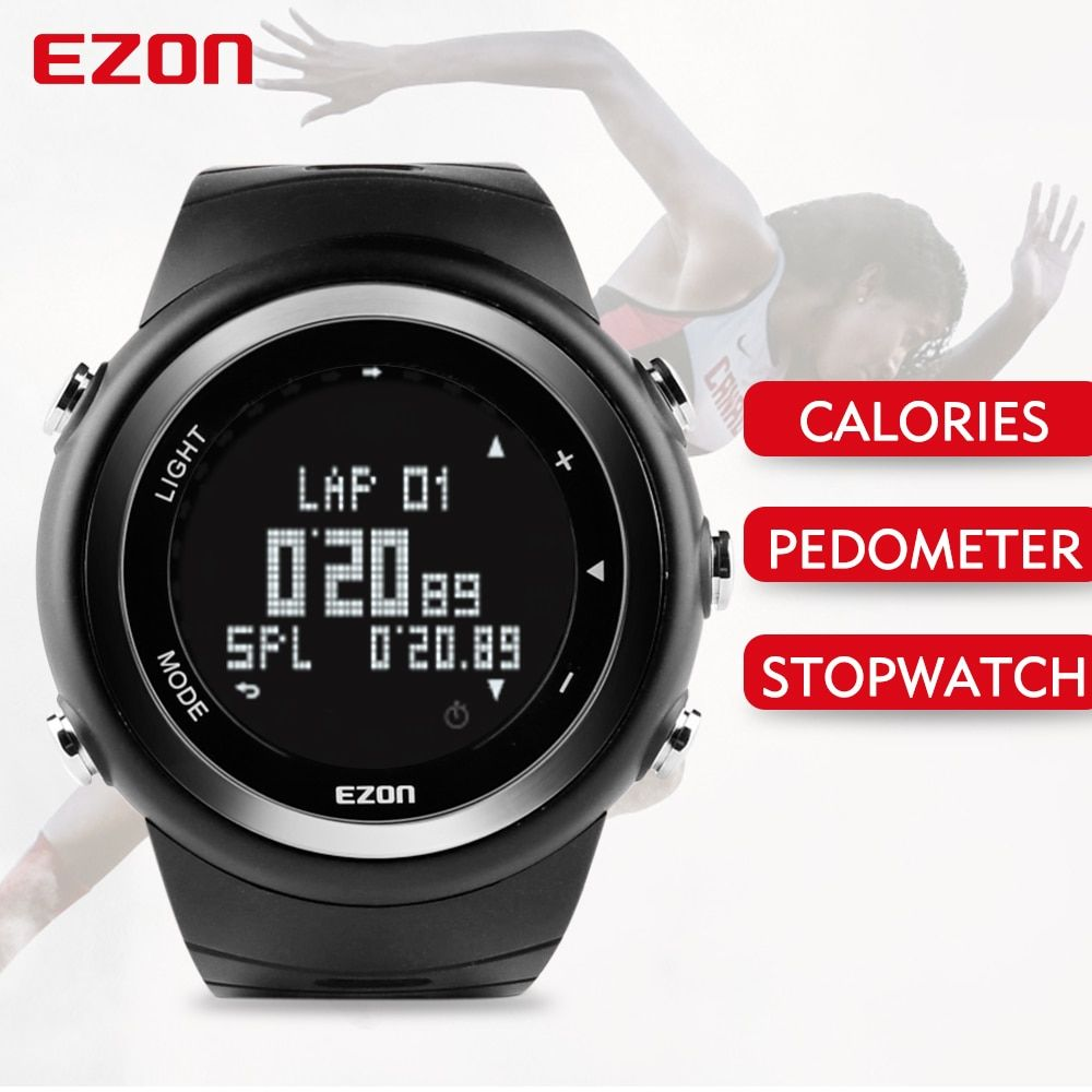 EZON T023 Men Outdoor Running Sports Watch Digital Casual Pedometer Watches Calories Counter Waterproof Multifunction Wristwatch