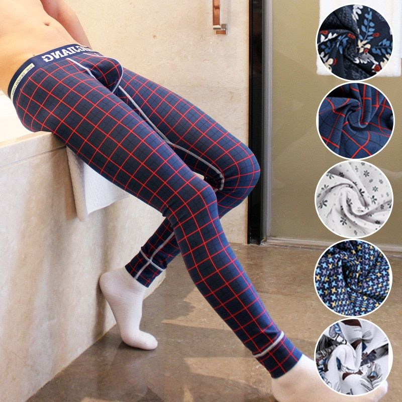 Брендовые мужские подштанники мужские теплые штаны тонкой упругой линии мужской моды хлопок Принт сексуальное нижнее белье плотно леггинс...