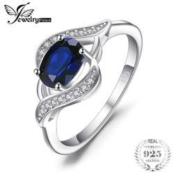 JewelryPalace 1.1ct Created Blue Sapphire Statement Ring 925 Sterling Silver Jewelry Ring Sets New Gift  For Women As Gifts