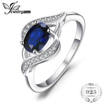 JewelryPalace 1.1ct Criado Blue Sapphire Anel Declaração Anel de 925 Jóias de Prata Esterlina Define Novo Presente Para As Mulheres Como Presentes