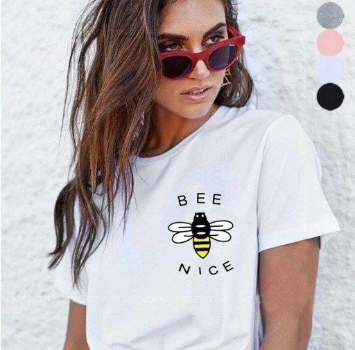 Kuakuayu-xsx blanc rose abeille genre imprimé femmes casual t-shirt femmes Vegan hauts Nature amant apiculteur chemise sauver la terre jour Top