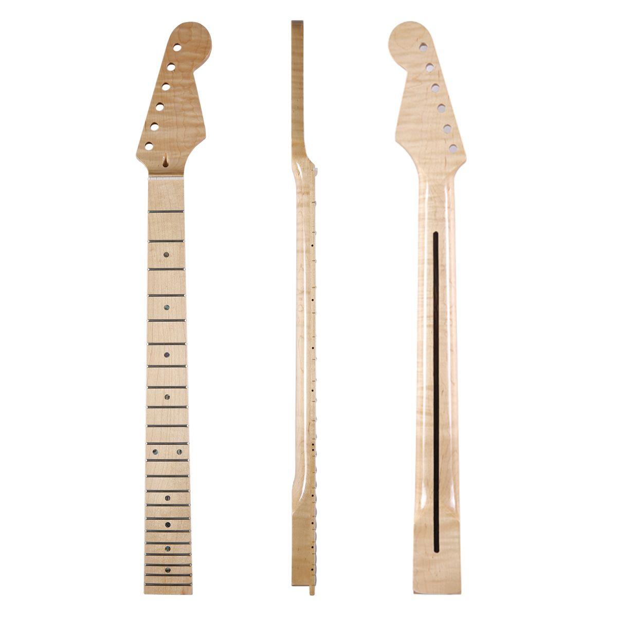 Dopro 22 Fret Glänzend Kanadischen Hoch Tiger Flamme Ahorn Strat Gitarre Neck mit Abalone Shell Inlay Knochen Mutter für Stratocaster
