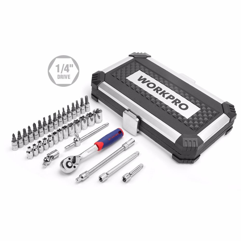 WORKPRO 35PC Tool Set for Car Repair Tools Sokcet Set Metric 1/4