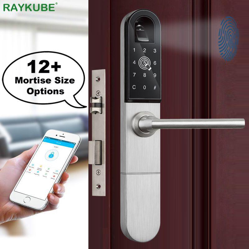 RAYKUBE Elektronische Türschloss Mit Fingerprint/Smart Karte/Bluetooth Entsperren Wifi TT lock Telefon APP Keyless Einsteckschloss r-F918