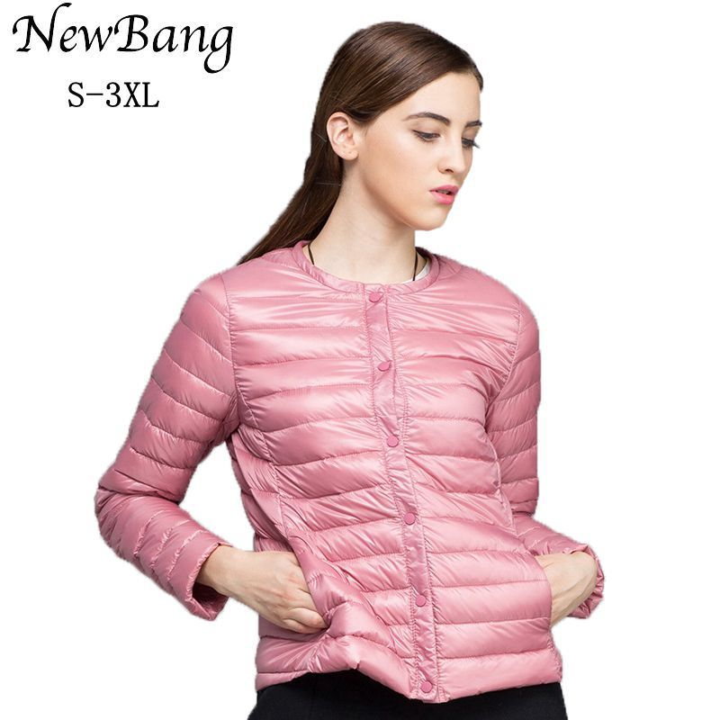 NewBang Down Jacket For Women Ultra Light Down Jacket <font><b>Thin</b></font> Slim Windbreaker Female Without Collar Coat Lightweight Warm Parkas