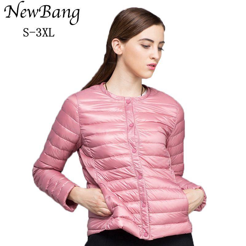 NewBang marque duvet manteau femme Ultra léger doudoune femmes mince coupe-vent sans col manteau léger chaud Parkas